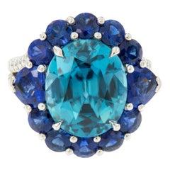William Rosenberg Platinum 11.82 Ct. BlueZircon & 2.61 Ct Sapphire Cocktail Ring