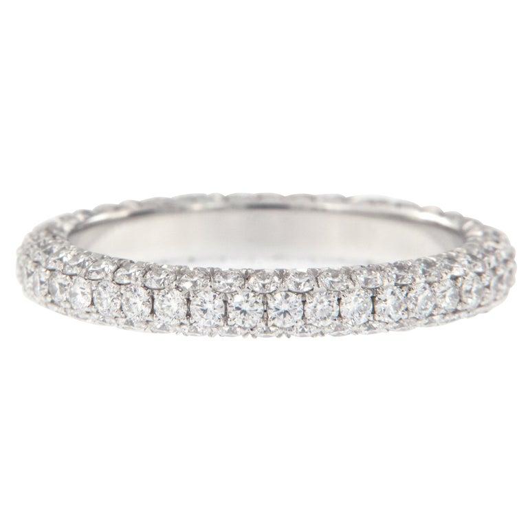 William Rosenberg Platinum 1.49 Carat Pave' Diamond Eternity Ring For Sale