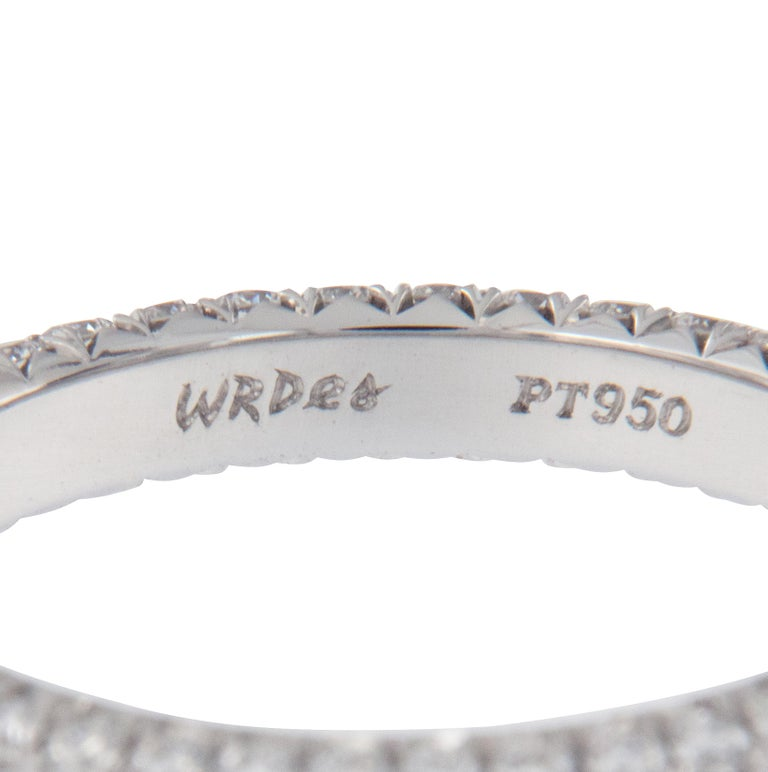 Round Cut William Rosenberg Platinum 1.49 Carat Pave' Diamond Eternity Ring For Sale