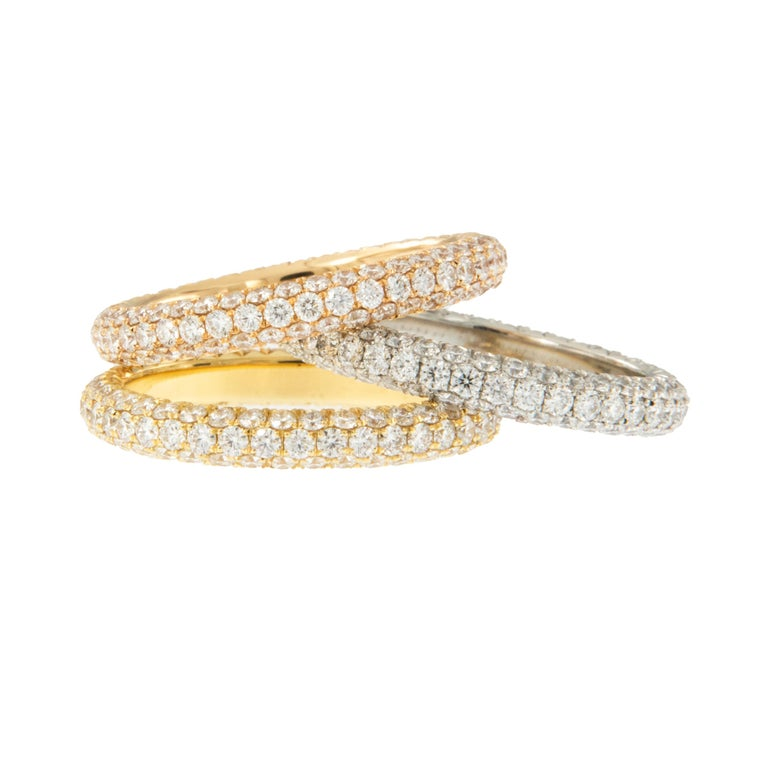 William Rosenberg Platinum 1.49 Carat Pave' Diamond Eternity Ring In New Condition For Sale In Troy, MI