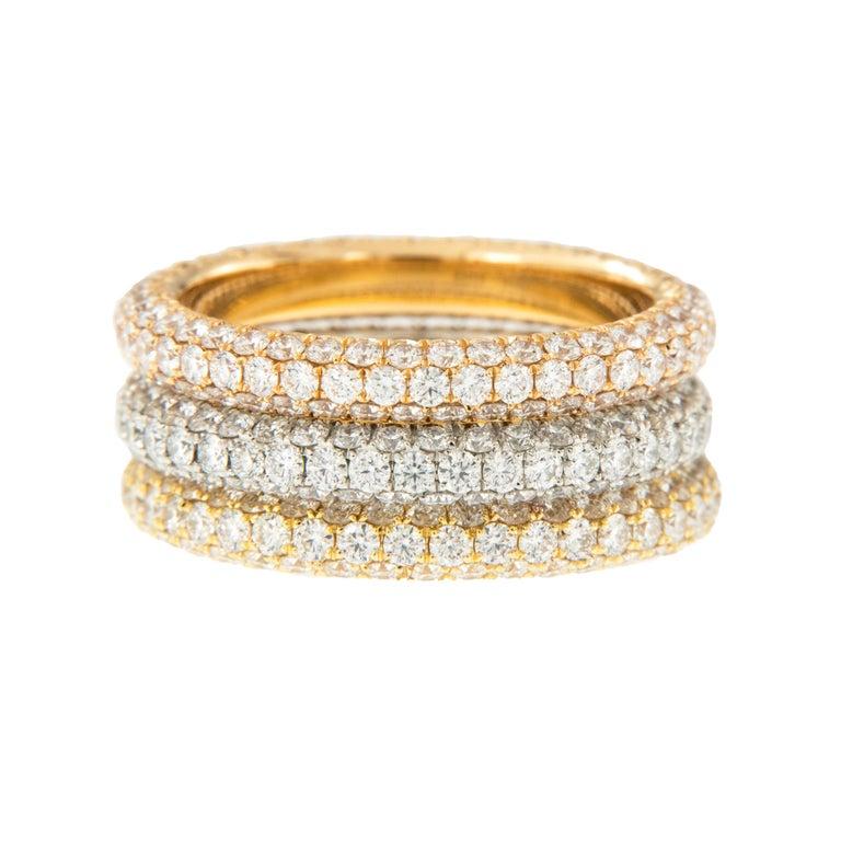 Women's or Men's William Rosenberg Platinum 1.49 Carat Pave' Diamond Eternity Ring For Sale