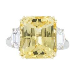 William Rosenberg Platinum 18 Karat Gold No Heat Yellow Sapphire & Diamond Ring