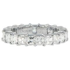 William Rosenberg Platinum 3.35 Ct Royal Asscher Cut Diamond Eternity Band Ring