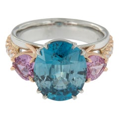 William Rosenberg Platinum Rose Gold Blue Zircon, Pink Sapphire and Diamond Ring