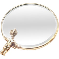 William Ruser Narcissus Yellow Gold Compact Hand Held Mirror