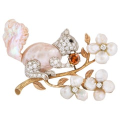 William Ruser Pearl Diamond Squirrel Pin
