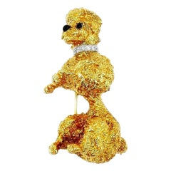 William Ruser Vintage Yellow Gold Diamond Onyx Poodle Pin