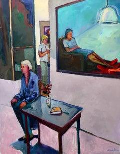Adelai Bischoff / oil on canvas - interior scene in vivid color