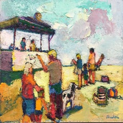 Beach Life - family, children, dog in the coastal sunshine, oil on canvas