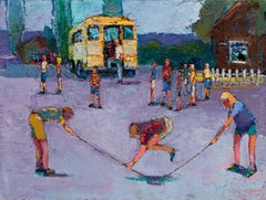 Flat Tire - children play and skip rope - oil on canvas