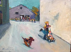 Parade / oil on canvas - children play
