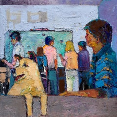 Summer Flat  - urban life with dog - oil on canvas