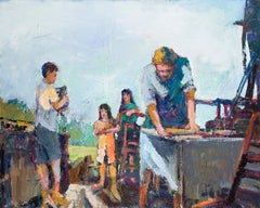 The Apprentice - figurative  family and children - oil on canvas in bold color