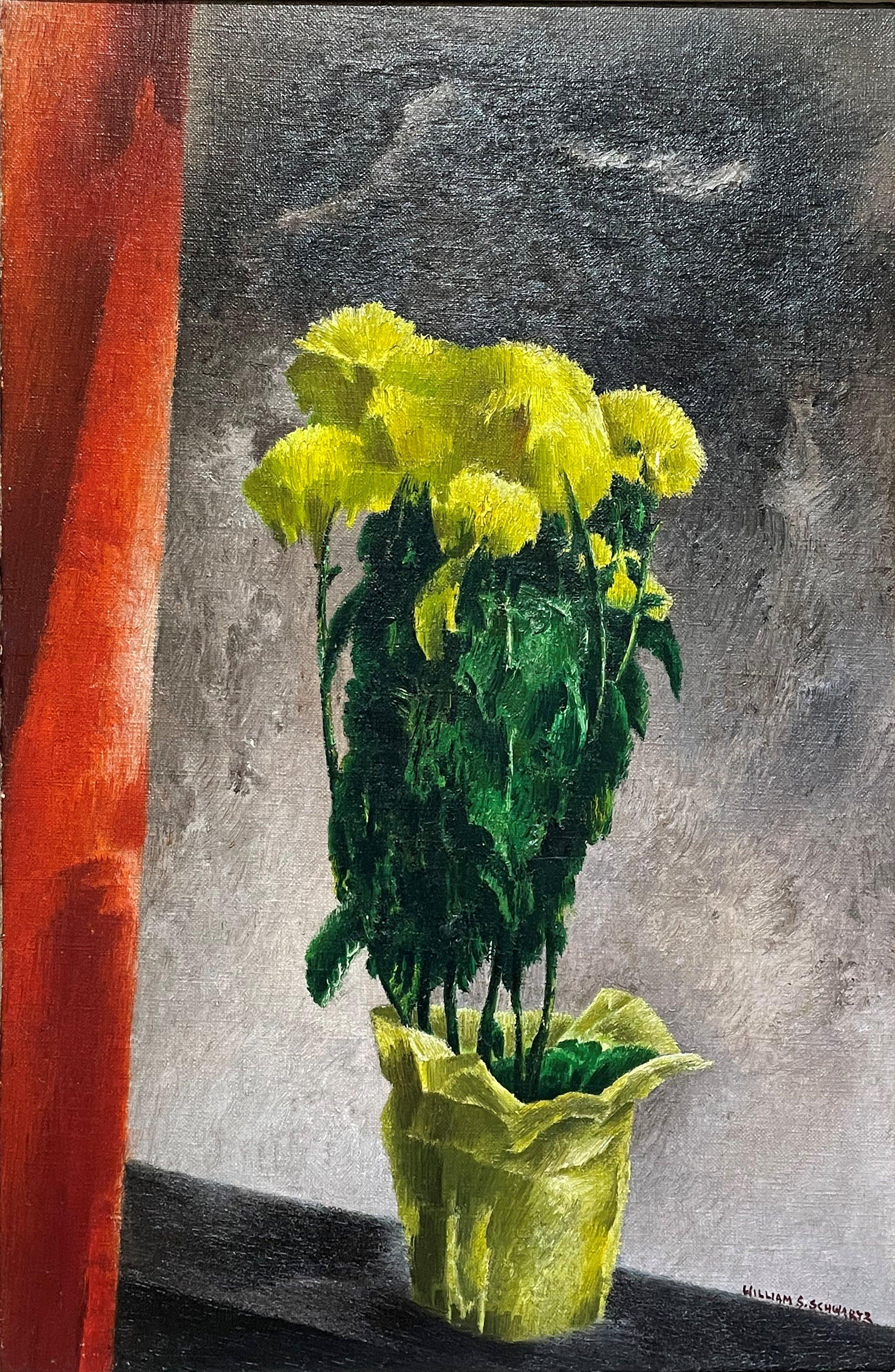"""Mums,"" William Schwartz, Yellow Flowers Still Life, American Modernism"