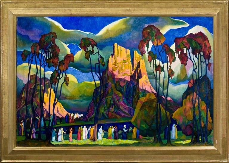 The Pioneers - Black Figurative Painting by William S. Schwartz
