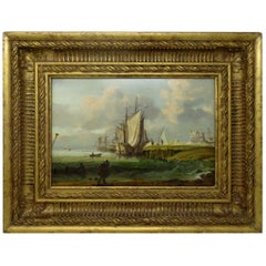 William Sadler Dublin Ireland Oil Painting on Board Harbor Scene Seascape Boats