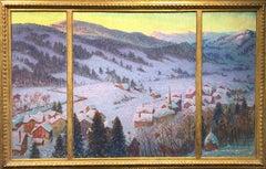 American Impressionist Landscape of Gstaad, Switzerland, Village in the Valley