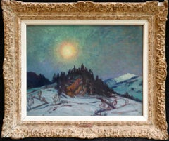 Gstaad, Switzerland-Opposite the Grand Palace Hotel - Impressionist Oil - Horton