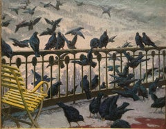 American Impressionist Painting, Ravens on the Balcony, William S. Horton