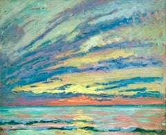 Sunset - American Impressionist Oil, Sunset Seascape by William Samuel Horton