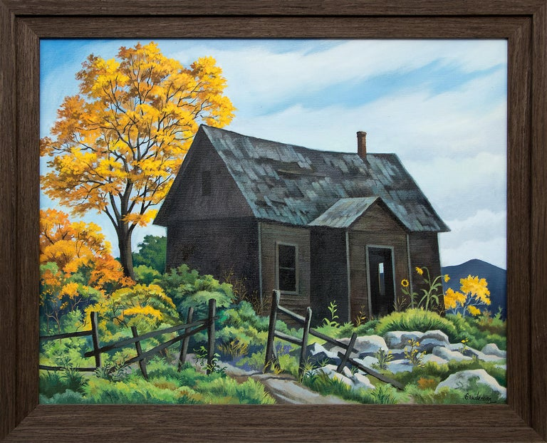 An original oil on canvas painting of an old homestead with autumn trees by Colorado modernist, William Sanderson (1905-1990).  Presented in a custom hardwood frame. Framed dimensions measure 25 ¾  x 25 ¾ inches. Image size is 22 x 28 inches.
