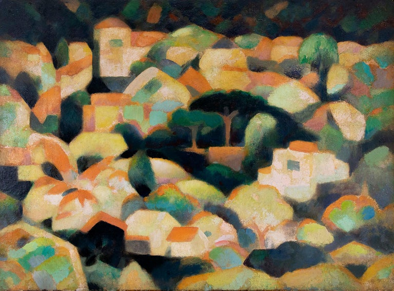 Untitled (Sausalito Hillside, California, Modernist Oil Painting, Houses, Trees) - Brown Figurative Painting by William Sanderson