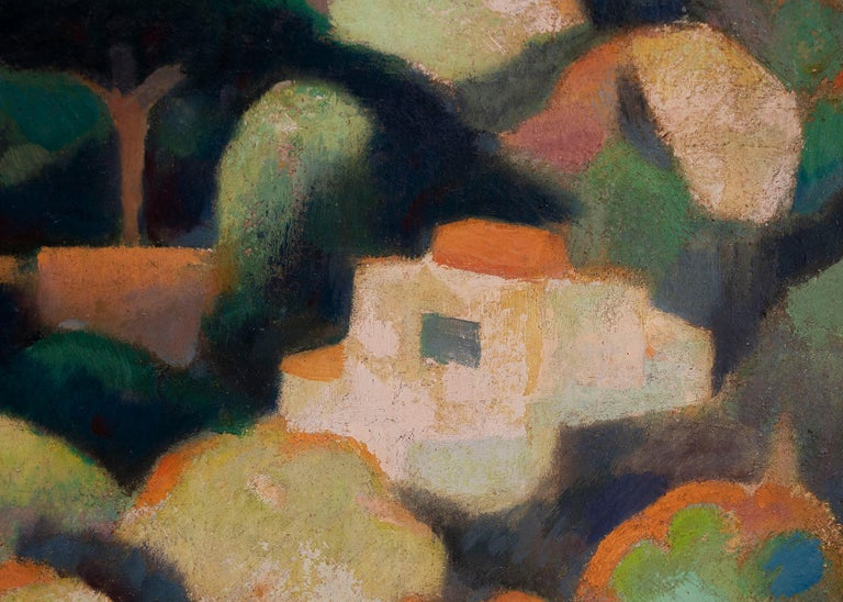 Vintage Modernist landscape of houses on a hill in Sausalito, California, by Hugh Weller (1898-1982), original oil painting on board depicts houses and trees on a hillside in colors of green, yellow, orange, red, pink, creamy white, yellow and blue.