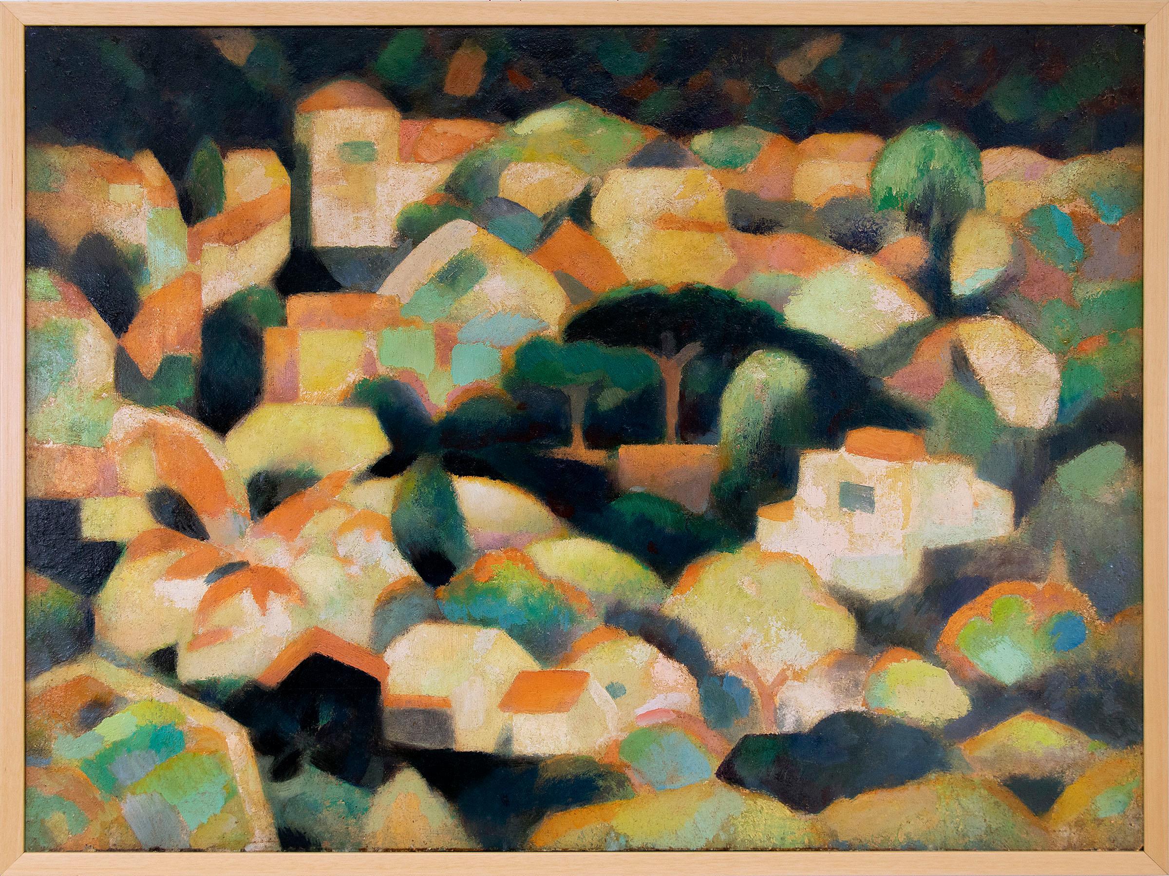Untitled (Sausalito Hillside, California, Modernist Oil Painting, Houses, Trees)