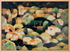Untitled (Sausalito Hillside, California, Modernist Oil Painting, Houses, Trees)