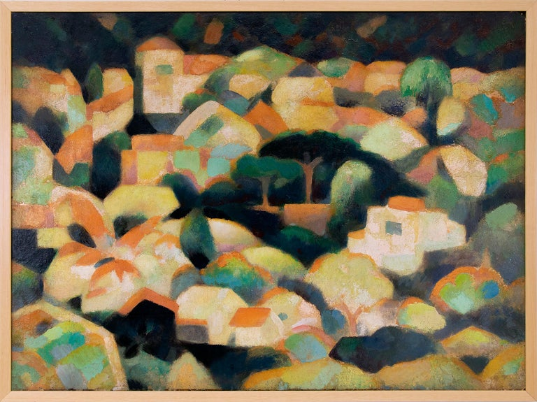 William Sanderson Figurative Painting - Untitled (Sausalito Hillside, California, Modernist Oil Painting, Houses, Trees)