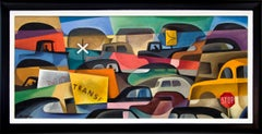 Untitled (Traffic Jam, 1950s Modernist Painting with Cars)