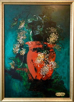 Bright Vibrant Pop Art Enamel Oil Painting Flowers NYC Abstract Expressionist