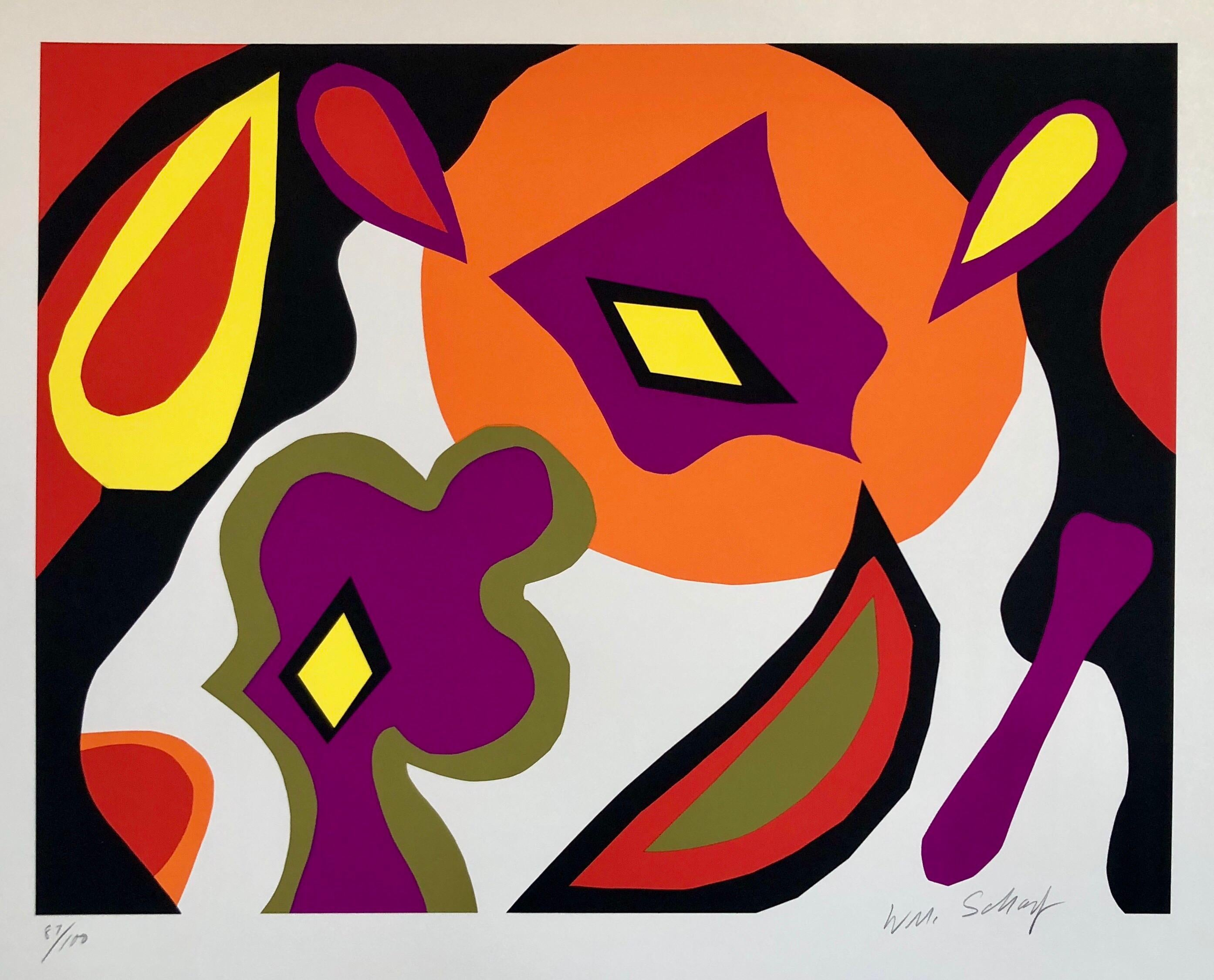 Bright Vibrant Pop Art Silkscreen NYC Abstract Expressionist