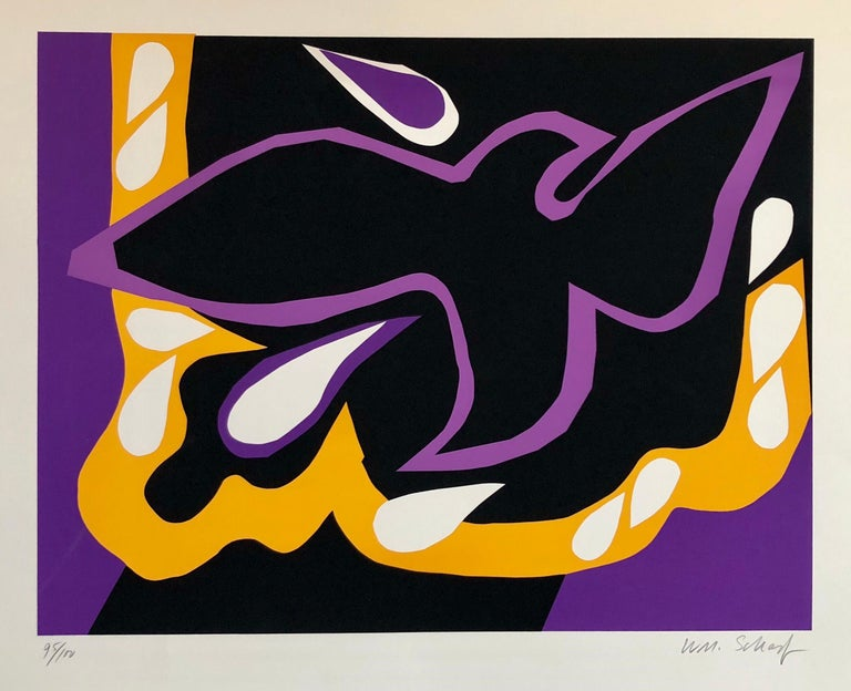 William Scharf Abstract Print - Bright Vibrant Pop Art Silkscreen NYC Abstract Expressionist