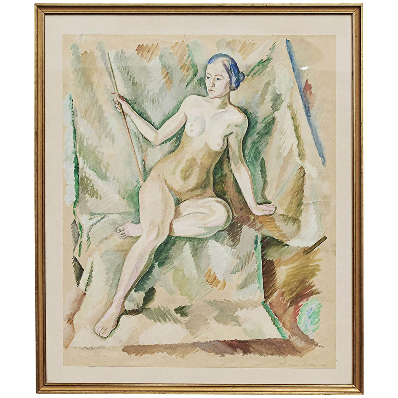 "William Scharff Modernist Painting, ""Nude Woman"""