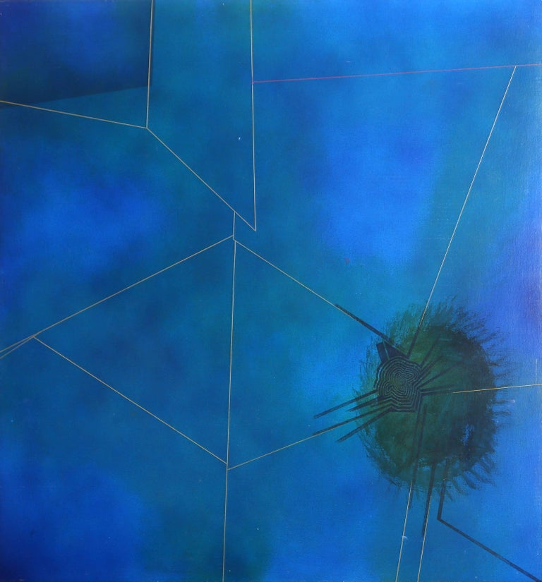 Artist:  William Schwedler, American (1942 - 1982) Title:  Untitled (Blue) Year:  1976 Medium:  Oil on Canvas, signed and dated verso Size:  48 in. x 48 in. (121.92 cm x 121.92 cm)