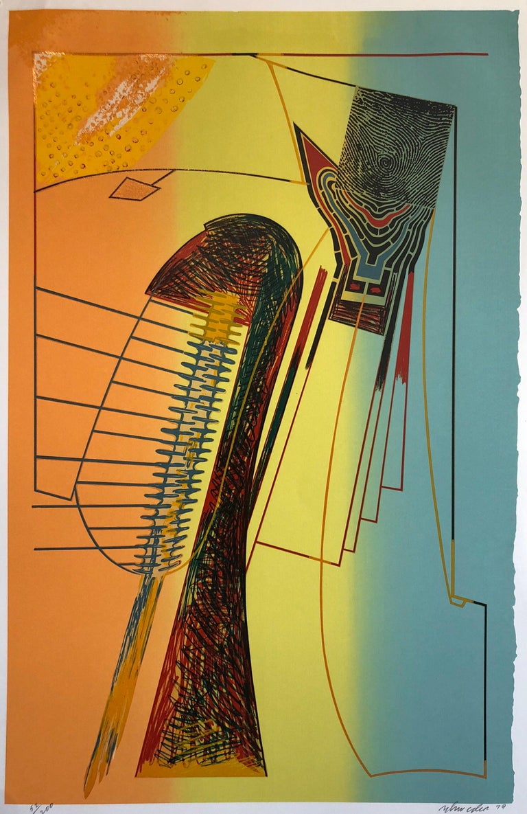 """William Schwedler Abstract Print - Surrealist Architectural Landscape """"Fall for it"""" 1970s Chicago Modernist"""