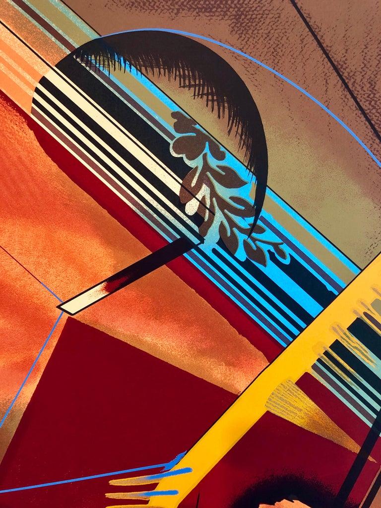 Surrealist Architectural Landscape Silkscreen 1970s Chicago Modernist Lithograph - American Modern Print by William Schwedler