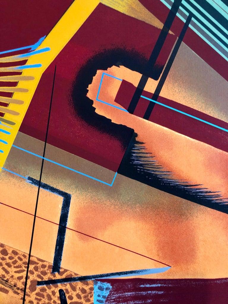 Surrealist Architectural Landscape Silkscreen 1970s Chicago Modernist Lithograph - Brown Abstract Print by William Schwedler