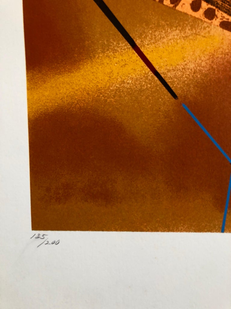 Orange, Turquoise, Red, Surrealist abstract. This serigraph has never been framed. It is pencil signed by hand