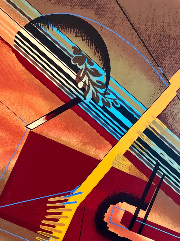Surrealist Architectural Landscape Silkscreen 1970s Chicago Modernist Lithograph For Sale 1
