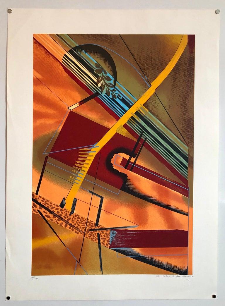 Surrealist Architectural Landscape Silkscreen 1970s Chicago Modernist Lithograph For Sale 2