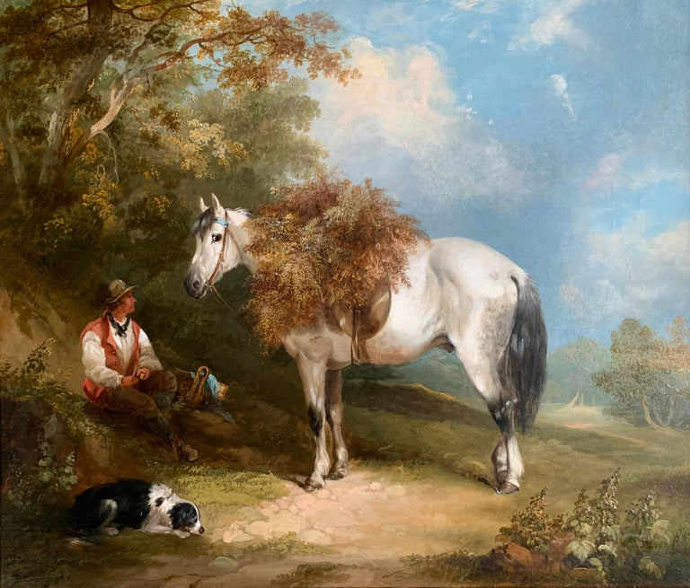19th Century Horse and Dog Oil  'The Fern Gatherer' For Sale 1