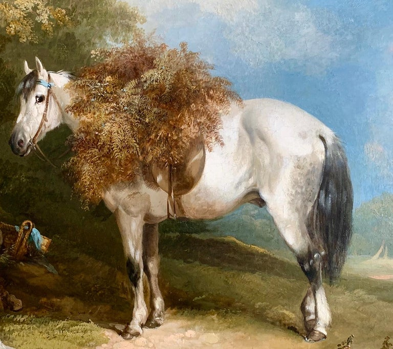 19th Century Horse and Dog Oil  'The Fern Gatherer' For Sale 2