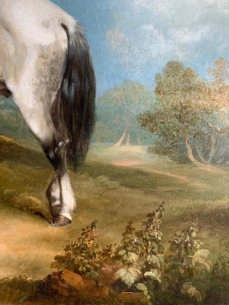 19th Century Horse and Dog Oil  'The Fern Gatherer' For Sale 4