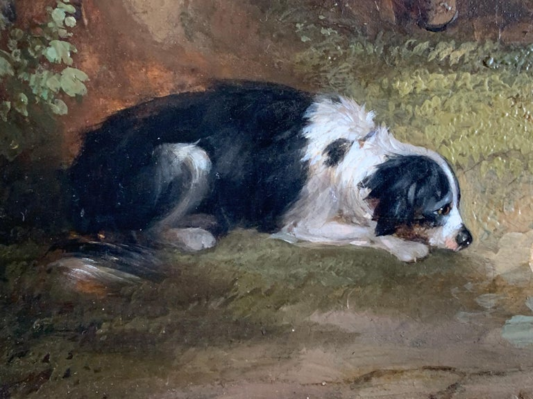 19th Century Horse and Dog Oil  'The Fern Gatherer' For Sale 5
