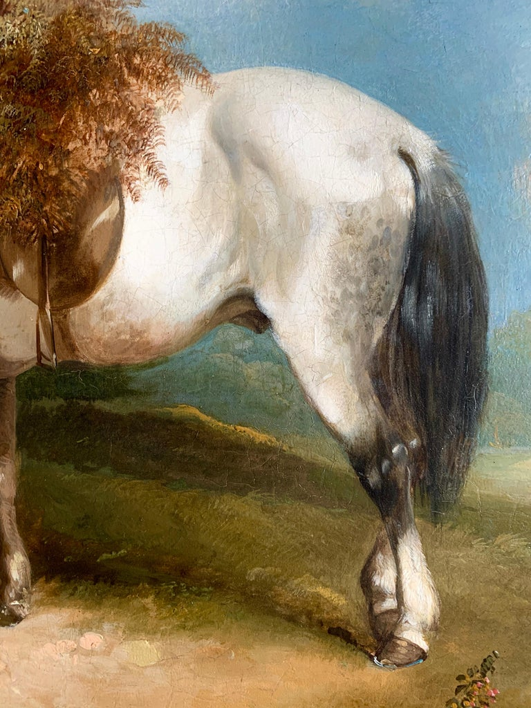 19th Century Horse and Dog Oil  'The Fern Gatherer' For Sale 6
