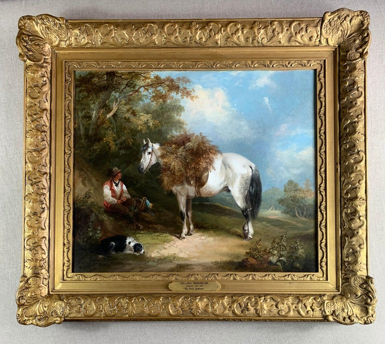 19th Century Horse and Dog Oil  'The Fern Gatherer' For Sale 7