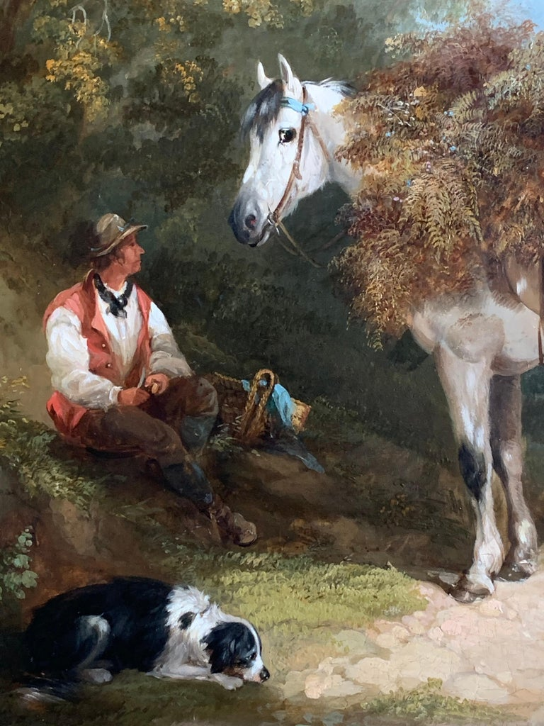 19th Century Horse and Dog Oil  'The Fern Gatherer' For Sale 8