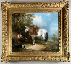 19th Century Horse and Dog Oil  'The Fern Gatherer'